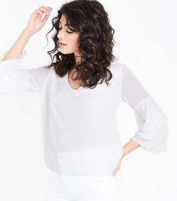 mela-cream-pearl-tiered-sleeve-blouse by new-look