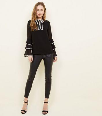 Mela Black Lace Trim Tie Neck Blouse New Look