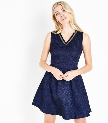 Mela Navy Lace Bead Embellished Neck Dress