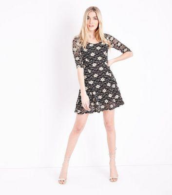 Blue Vanilla Black Floral Lace Skater Dress New Look