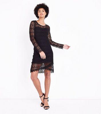 Blue Vanilla Black Lace Long Sleeve Dress New Look