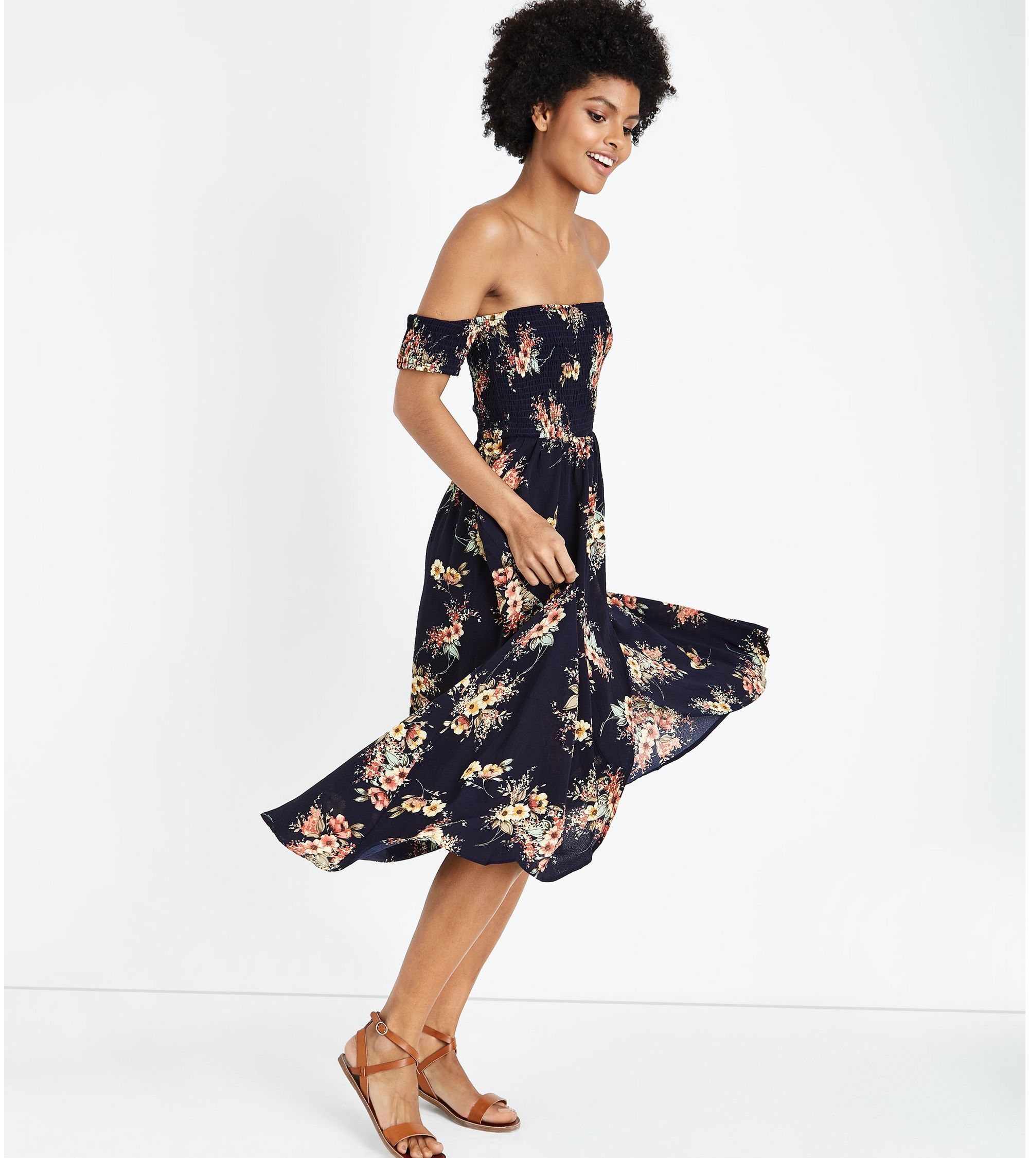 5ccc2250e3b New Look Blue Vanilla Navy Floral Shirred Maxi Dress at £28