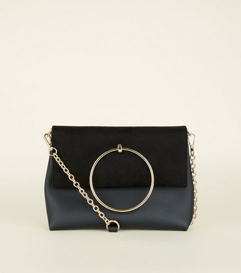 Black Leather Look Ring Handle Shoulder Bag