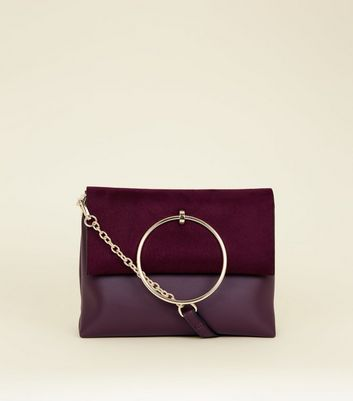 Burgundy Leather-Look Ring Handle Shoulder Bag