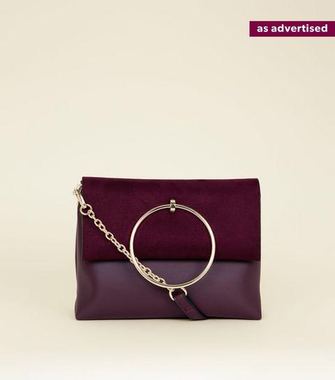 Burgundy Leather Look Ring Handle Shoulder Bag