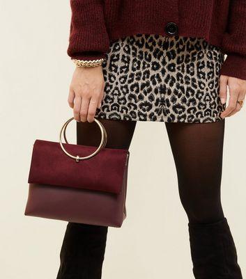 Burgundy Leather-Look Ring Handle Shoulder Bag New Look