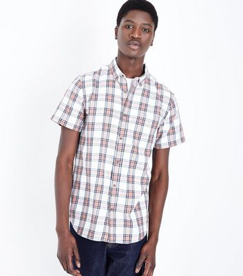 White and Red Bold Check Shirt
