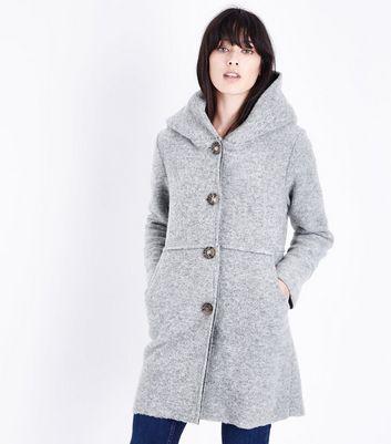 Lulua London Grey Wool Mix Hooded Coat New Look