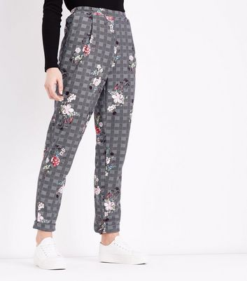 Innocence Black Check Floral Print Trousers New Look