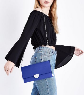 Bright Blue Suedette Panel Clutch Bag New Look