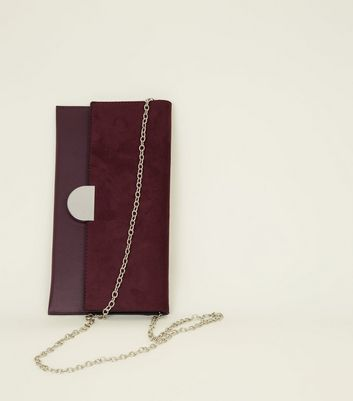 Burgundy Suedette Panel Clutch Bag New Look