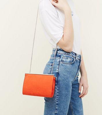 Bright Orange Suedette Bar Top Shoulder Bag New Look