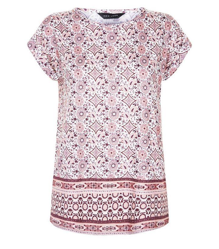0acca2ee82a3c Pink Paisley Border Print T-Shirt