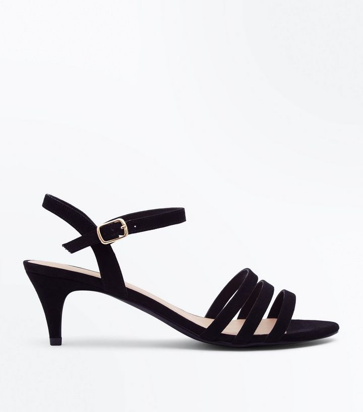 61c1328635c Wide Fit Black Strappy Kitten Heel Sandals Add to Saved Items Remove from  Saved Items