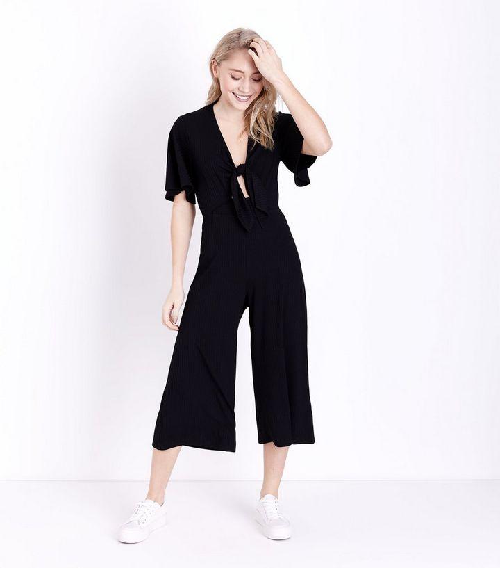 06bb42666726 Petite Black Tie Front Ribbed Culotte Jumpsuit