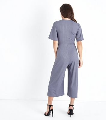 Petite Grey Tie Front Ribbed Culotte Jumpsuit New Look
