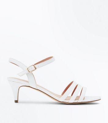 Wide Fit White Three Strap Kitten Heel