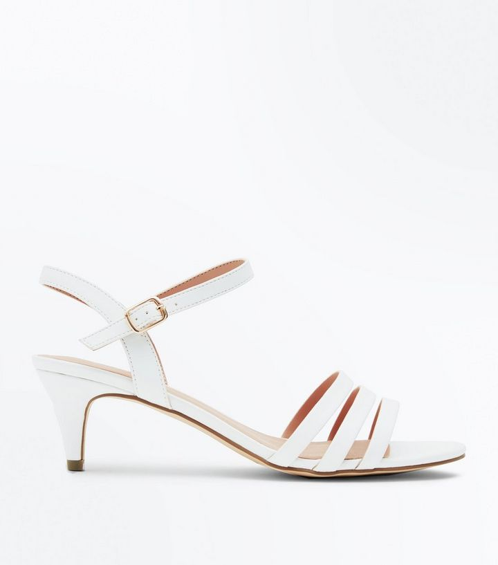 c41cb6ed8a96 Wide Fit White Three Strap Kitten Heel Sandals