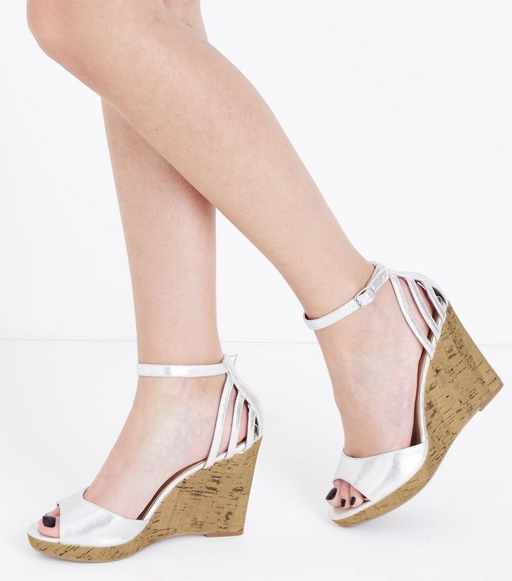724f87f5f5e ... Wide Fit Silver Cage Back Cork Wedges. ×. ×. ×. Shop the look