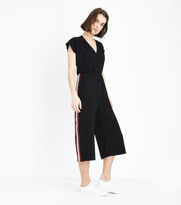 722a35dc0c79 Black Wrap Front Side Stripe Culotte Jumpsuit