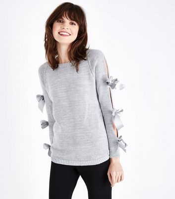 Lulua London Grey Bow Embellished Open Sleeve Jumper New Look