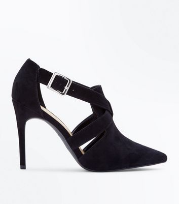 Wide Fit Black Suedette Pointed Cut Out Shoe Boots