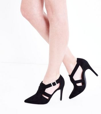 Wide Fit Black Suedette Pointed Cut Out Shoe Boots New Look