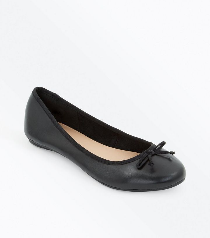 2019 discount sale wholesale dealer dirt cheap Wide Fit Black Leather Ballet Pumps Add to Saved Items Remove from Saved  Items