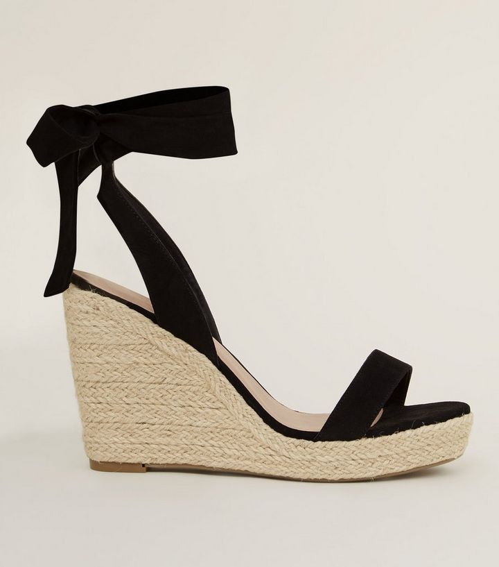 5d8804ff21e6 Wide Fit Black Suedette Ankle Tie Espadrille Wedges