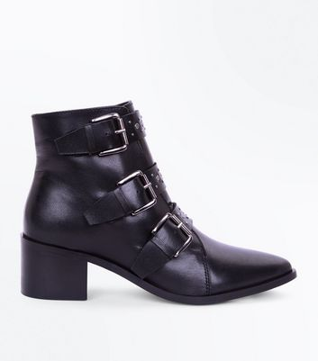 Black Premium Leather Stud Buckle Ankle Boots