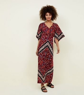 Red Scarf Print Hanky Sleeve Maxi Dress