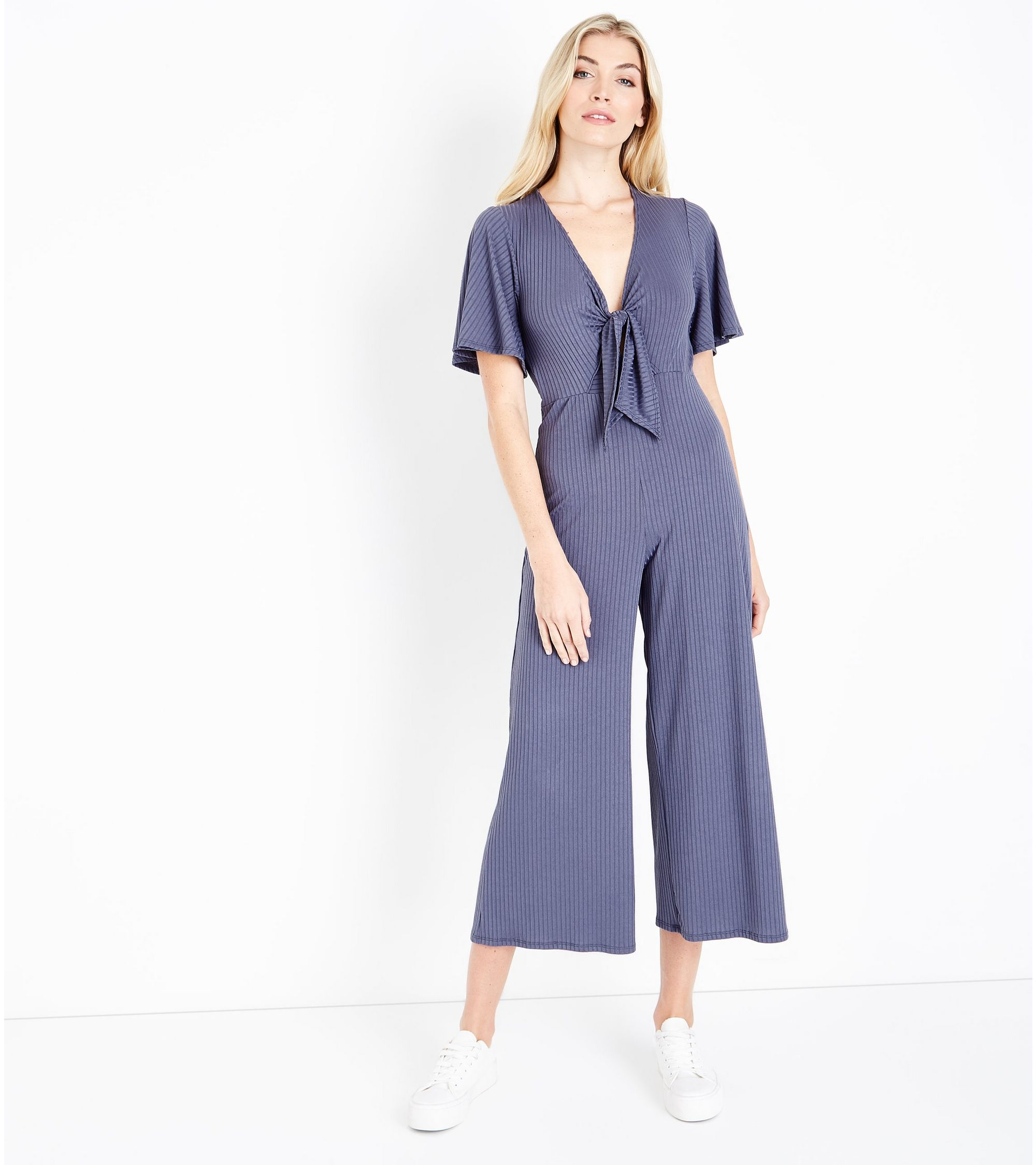 b8ff1f96387a New Look Tall Grey Tie Front Ribbed Culotte Jumpsuit at £9