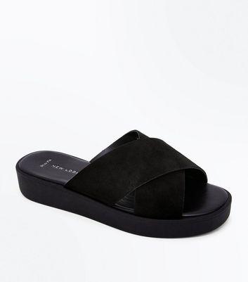 Wide Fit Black Suede Flatform Sliders