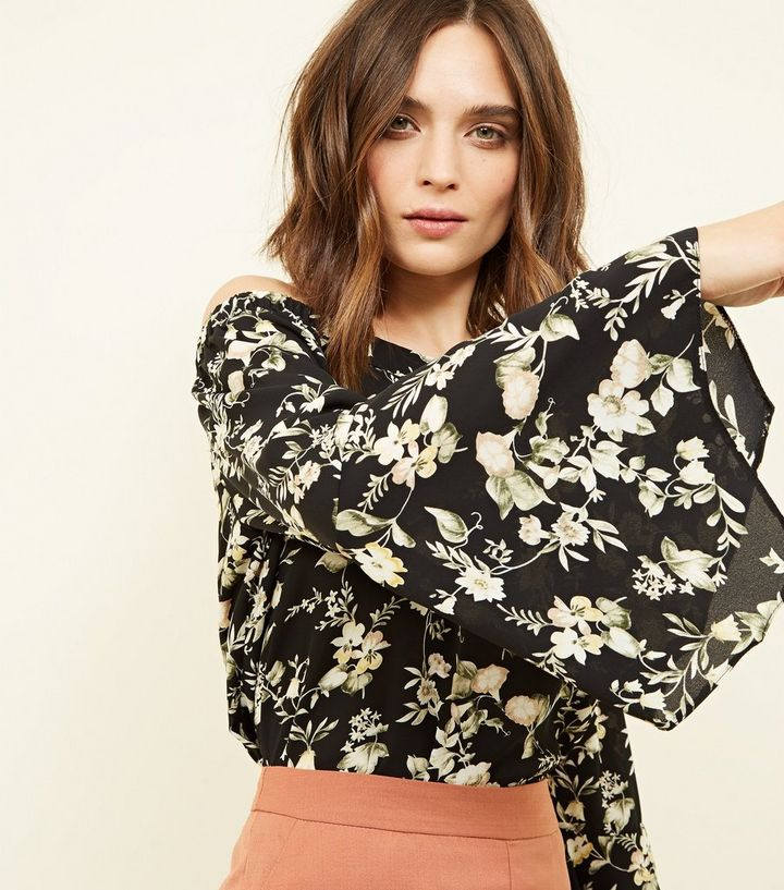 12f3cbc020fe4f ... Tall Black Floral Hanky Sleeve Bardot Top. ×. ×. ×. Shop the look