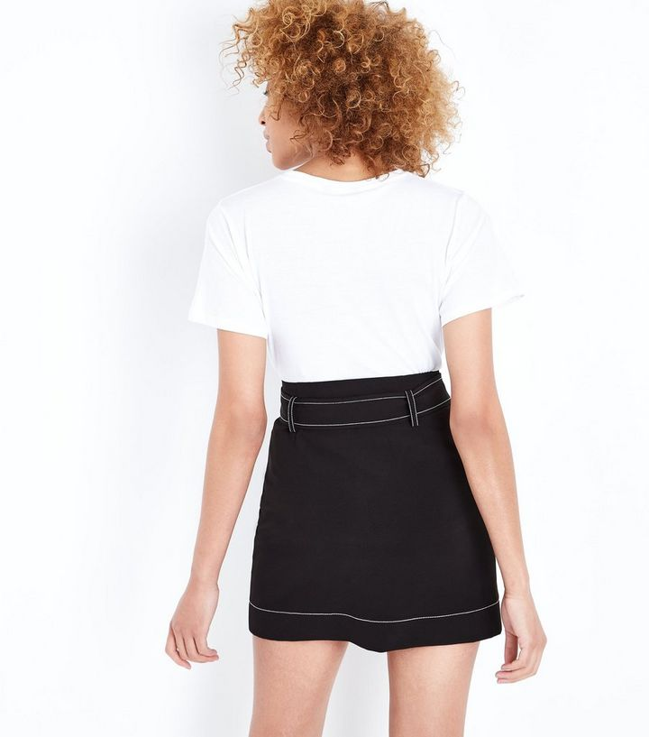 729967d766 ... Black Contrast Stitch Belted Mini Skirt. ×. ×. ×. Shop the look