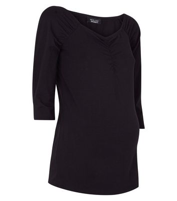 Maternity Black Ruched 3/4 Sleeve T-Shirt New Look