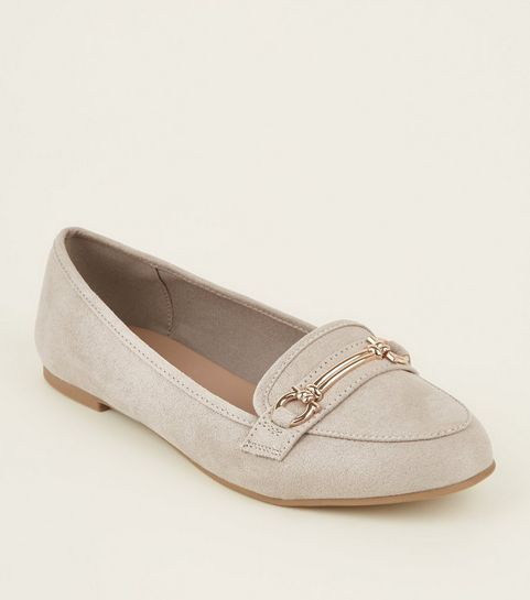 52186b1b27d ... Grey Suedette Bar Front Loafers ...