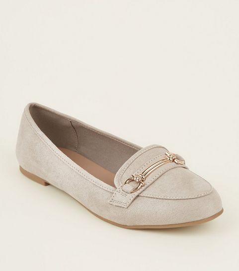 da21c84701c3 ... Grey Suedette Bar Front Loafers ...