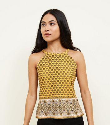 Petite Mustard Border Print Cami New Look