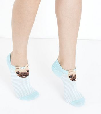 Pale Blue Stripe Pug Trainer Socks New Look