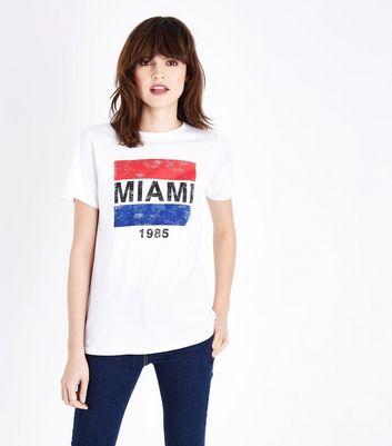 White Miami Print Short Sleeve T-Shirt New Look