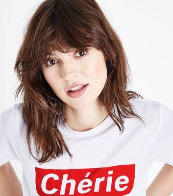 White Short Sleeve Cherie Slogan T-Shirt New Look