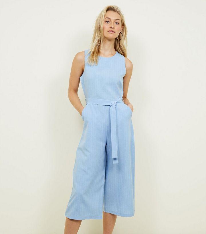 ea13a6cc0c7 Mela Pale Blue Stripe Culotte Jumpsuit