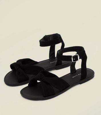 Black Bow Strap Flat Sandals   New Look