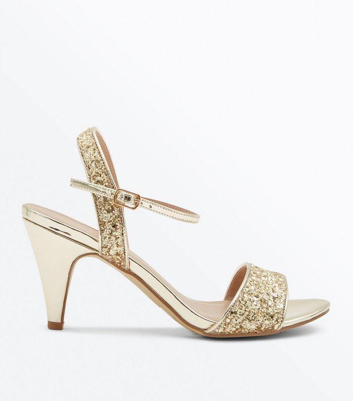 a454674e203 Wide Fit Gold Metallic Glitter Cone Heels