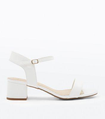 White Comfort Flex Block Heel Sandals