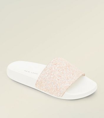 Girls Pink Glitter Sliders   New Look