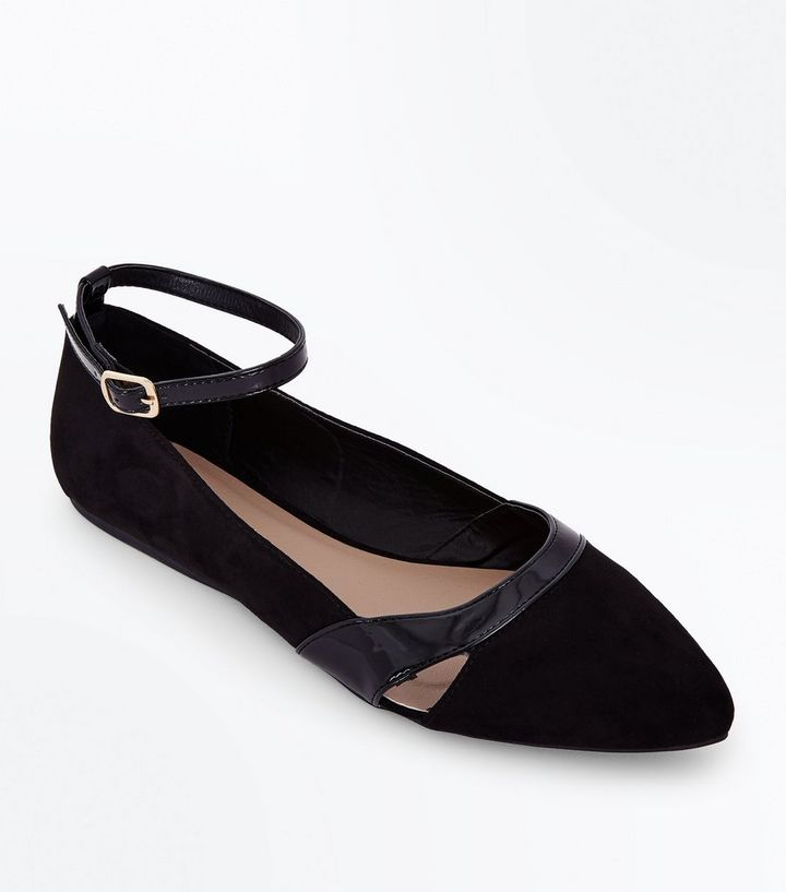 get new retail prices recognized brands Wide Fit Black Ankle Strap Suedette Ballet Pumps Add to Saved Items Remove  from Saved Items