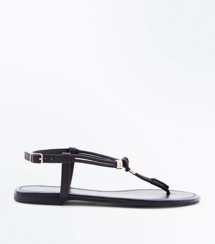 95dc409646958a Wide Fit Black Leather-Look Knot Strap Sandals