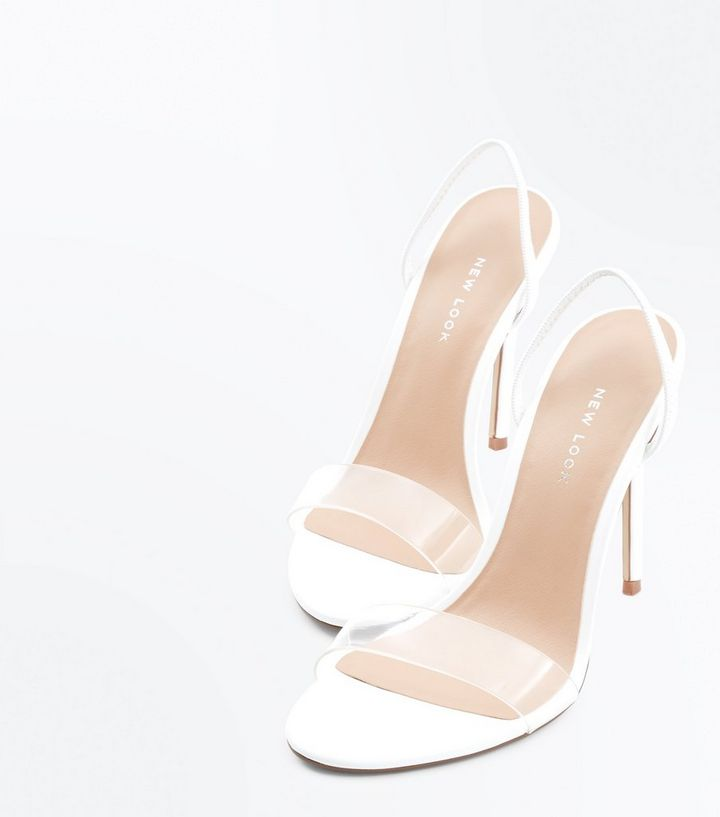 fbe2fe82bdd8 ... Shoes · Sandals · White Clear Strap Slingback Stiletto Heels. ×. ×. ×.  Shop the look